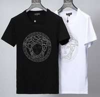 m broca venda por atacado-Justin Bieber Camisa polo T-shirt Nova Moda Maré homens projeto T-shirt hip hop Cabeça Forma Padrão de perfuração Quente Tee Tops Venda Quente Mangas Curtas