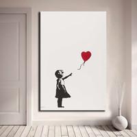 ingrosso pittura decorativa della stanza-Ragazza con palloncino Banksy Wall Art Canvas Poster e stampa su tela dipinto immagine decorativa per ufficio soggiorno Home Decor