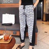 calças baggy design venda por atacado-Calça Casual celebridades Web mesmo estilo Sports Pants 2019 queda Design Mulheres Novas Patchwork Baggy Leg Pants frete grátis