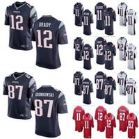 brady formaları toptan satış-Erkek bayan çocuk Yeni Patriots 12 Tom Brady 87 Rob Gronkowski Jersey Erkekler # 11 Julian Edelman Patriots formaları