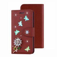 tarjetas de diamante iphone al por mayor-Funda de cuero para A50 A30 M30 M20 M10 Nota 9 8 S9 S8 J6 J4 Mariposa Bling Flor de diamante Ranura para tarjeta de identificación Cubierta de la correa Cubierta de la manera
