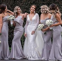 Wholesale strapless light blue bridesmaid dresses for sale - Group buy 2019 New Arrival Silver Mermaid Bridesmaids Dresses Long Satin Strapless Sleeveless Ruched Backless Floor Length Size Wedding Guest Gowns
