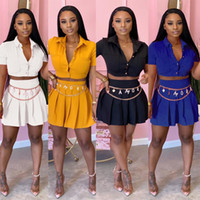 Wholesale white short mini dress resale online - Womens summer clothes sexy Two piece Outfits dress sets short sleeve shirt crop top mini pleated skirt party nightclub plus size clothing