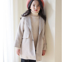 Wholesale woolen clothes for girls resale online - Solid Woolen Teenage Girls Trench Coats For Kids Winter Cotton Single Btreasted Long Jackets Clothing Children Outerwears