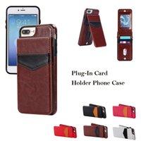 étui iphone carte de visite achat en gros de-Business Add-In Carte Housse En Cuir Pour Téléphone Portefeuille Étui Pour IPhone 6/7/8 Plus X / XS XS Max XR S9