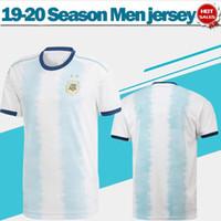 maillots argentins achat en gros de-2020 Argentine Maillots de football Maillot de football 19/20 Copa América # 10 MESSI # 9 AGUERO # 21 DYBALA # 22 LAUTARO uniformes de football