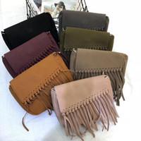 Wholesale burgundy scrubs resale online - 2020 New Style Women s Bag Fashion Scrub Tassel Bag Casual Shoulder Messenger