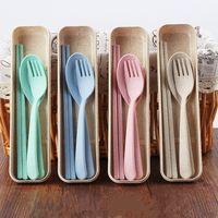 eko çubuklar toptan satış-Taşınabilir Buğday Straw Kaşık Çatal Chopsticks Seti bulaşığı Çevre dostu 4 Renkler Yeniden kullanılabilir Buğday Straw Seyahat Kamp Çatal Seti MMA2710