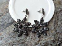 kristall pflastern perlen ohrringe großhandel-Mode blume form schwarz ohrringe, gepflastert kristall strass perlen charms baumeln ohrring handgefertigte zirkon schmuck er167
