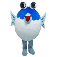 fisch halloween kostüme großhandel-Professionelle benutzerdefinierte Puffer Fisch Maskottchen Kostüm Cartoon Marine Fisch Charakter Kleidung Halloween Festival Party Fancy Dress