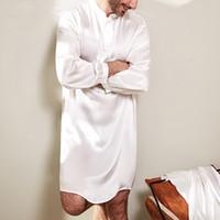 erkek ipek takım elbise toptan satış-Rahat Ipek Saten Erkekler Robe Pijama Uzun Bornoz Salonu Arabe Kurtaş Elbise Gömlek Kıyafeti Erkek Giyim Masculina Suits