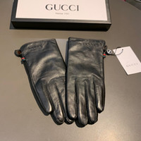 Wholesale winter gloves men leather resale online - Luxury winter Top quality Luxuries Designers Men Womens Brand Genuine leather gloves Fashion Handschuhe sheepskin gants guantes G01
