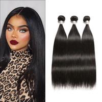 peruanischen indischen haare weben großhandel-Ruiyu brasilianische peruanische Malaysian Indian Glattes Haar Weave Bundles 100% Menschenhaar-Tressen 3 / 4ST Körper-Welle Remy Haar-Verlängerungen