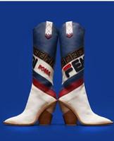 venda de botas longas venda por atacado-Cunhas venda quente na altura do joelho mulheres botas de bico fino F Brand Design Mixed Couro Cor Chunky calcanhar botas longas estilo europeu 35-42