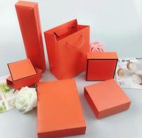 подарочные коробки для упаковки оптовых-High quality original box designer H orange necklace bracelet box jewelry packaging gift set with card velvet bag handbag