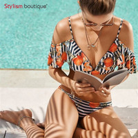 maillot floral al por mayor-Floral Bikinis Mujeres Sexy traje de baño de rayas Imprimir traje de baño Traje de baño Mujeres fuera del hombro Biquini Maillot De Bain Femme 2019