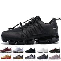 mejores zapatos para correr con descuento al por mayor-Nike Air Max Vapormax 2019 Run Utility Men Casual Shoes Mejor Calidad Negro Antracita Metal Blanco Refleja Silver Discount Shoes mens Size 40-45
