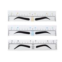 herramientas para medir al por mayor-Desechable Microblading Ceja Regla Etiqueta adhesiva Accesorios de tatuaje Suministros Maquillaje permanente Herramienta de medición de bordado Ceja que forma la plantilla