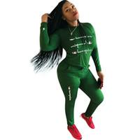 leggings new jersey al por mayor-Mujeres Campeones Carta Chándal jersey Sudadera Con Capucha Camiseta Top + Pantalones Leggings 2 UNIDS Sudaderas con capucha Conjuntos Trajes Ropa deportiva joggers Traje Ropa NUEVO