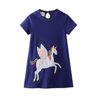 applique baby tiere großhandel-Kinder Designer Kleidung Mädchen Sommer Mädchen Kleid mit Einhorn Tiere Appliques Kleinkind Party Kleid Europäischen American Style Baby Mädchen Kleidung