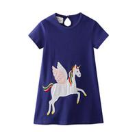 hayvan giyimli bebek kıyafetleri toptan satış-Çocuklar Giysi Tasarımcısı Kızlar Unicorn Hayvanlar Aplikler ile Kız Yaz Kız Elbise Toddler Parti Elbise Avrupa Amerikan Tarzı Kız Bebek Giysileri