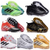 futbol futbol botları firma toprakları toptan satış-Moda En kaliteli Erkek Futbol Boots Futbol Ayakkabı Altın Siyah açık futbol Futbol Cleats Firma Zemin Cleats Eğitmenler FG NSG