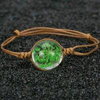 bracelet de fleurs séchées achat en gros de-Nouveau Fait À La Main En Céramique Perle De Cristal De Verre Séché Fleur Dentelle Conservé Frais Fleur Balle En Métal Tissage Bracelet Femmes Bijoux