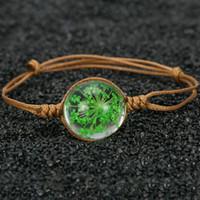 ingrosso braccialetto di fiori secchi-Nuovi gioielli fatti a mano in ceramica con perle in vetro cristallo e fiori secchi in pizzo conservati con palline di fiori freschi
