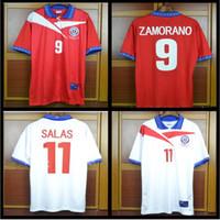 chile jerseys venda por atacado-# 9 ZAMORANO # 11 SALAS Camisa de Futebol do Chile Retro 1996 1997 1998 casa camisa de futebol vermelho Do Vintage Clássico antigo Coleção 96 97 98 uniforme