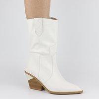 botas occidentales de calidad al por mayor-Calidad superior Otoño invierno Tallas grandes 46 Retro Tacones gruesos Botas de media pantorrilla Zapatos de mujer Resbalón en botas occidentales Zapatos mujer
