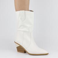 artı boyutu boğuk topuklar toptan satış-En kaliteli Sonbahar kış Artı Boyutu 46 Retro tıknaz Topuklu orta Buzağı Çizmeler Kadın Ayakkabı Batı çizmeler Ayakkabı Üzerinde Kayma Kadın