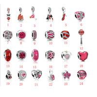 rote kristall-pandora großhandel-2019 mode Authentic Fit Pandora armbänder 925 Sterling Silber rotes herz kristall Europäischen Charme Perlen armbänder frauen Kette DIY Schmuck