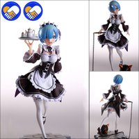 Wholesale world figure painting resale online - Re Life in a different world from Zero Rem Scale Painted PVC figure Servant Maid Girl Ver Rem Action figure Toys Brinquedos T190925