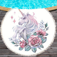 Wholesale round outdoor cushions online - Unicorn Circular Printing Beach Towel Believe Miracles Outdoor Bardian Seaside Pink Green Washcloth Fine Fiber Fashion Sofa Cushion ygD1