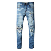 Wholesale new style motorcycles resale online - New Style Brand New Mens Jeans Distressed Ripped Biker Jeans Slim Fit Motorcycle Biker Denim Jeans Fashion Designer Pants