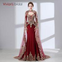 ingrosso abito rosso caftano arabo-2017 Arabian Mermaid Evening Gowns Women Kaftan Dubai Abiti da sera Appliques rosso raso manica lunga sera musulmana
