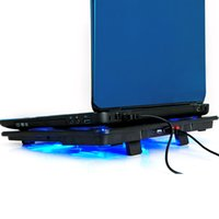 dizüstü bilgisayar için soğutma fanı standı toptan satış-Hafif yeni çalışmaya Soğutma Fanı 5 taraftar 2 USB Bağlantı Noktası slayt geçirmez standı Notebook ile Laptop Soğutucu Pad 14