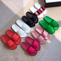 bunte sommersandelholze frauen großhandel-frauen herren sandalen gummi luxus rutscht sandale helle bunte slipper sommer womens designer slides flip flop durchdringend 7 farben mit box