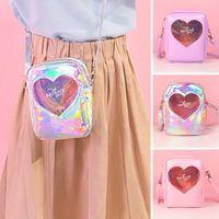 bolso corea del hombro al por mayor-Milkjoy Girls Messenger Bag Heart Women pu laser Bolsos Moda Hombro Corea Messenger Bags Bentoy PU Carry Phone Bag AAA1797
