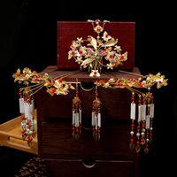 diadèmes de mariage simples achat en gros de-Bijoux rouge chinois simples de mariée ancienne décoration de cheveux de l'Assemblée New Shell-like gland diadème bijoux de cheveux de mariage