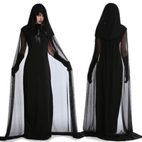 Wholesale halloween witch cosplay for women for sale – halloween Halloween Costumes for Women Gost Specter Witch Death Robes Long Cosplay Fancy Devil Christmas Vampire Dress Up Party Fashion Style Uniform