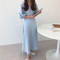 koreanischer strand kleidet ärmel großhandel-Koreanische vintage kurzarm v-ausschnitt dress sommer sexy gerade lose weibliche casual strand lange party dress