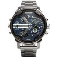 relógios de pulso bege venda por atacado-Business Mens relógios de grife com Tamanho grande Bege Dial pulseira de aço inoxidável 22mm Moda relógio de pulso de quartzo Top qualidade barato escolhido