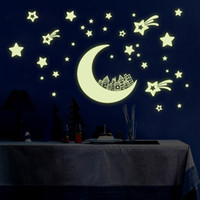Wholesale moon stars wall decor for sale - Group buy 20 cm night Light Luminous stickers home decor home decoration wall sticker for kids rooms wall decals MOON AND STARS Y0016