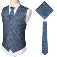 Wholesale vest tie set for sale - Group buy Men s Classic Business Party Wedding Paisley Floral Jacquard Waistcoat Vest Pocket Square Tie Suit Set Pocket Square Set Gilet