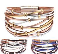 gold-armbänder großhandel-Handgemachte Gold Silber Perlen Leder Armbänder Für Frauen Männer Mode Mehrere Schichten Charme Wickelarmband Armreif Großhandel Schmuck Geschenk