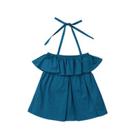 ingrosso vestito blu halter dal bambino-2019 Toddler Baby Girls Kids Dress Summer Halter Sleeveless Solid Blue Ruffle Costume Abbigliamento carino Abiti 2 pezzi One Piece