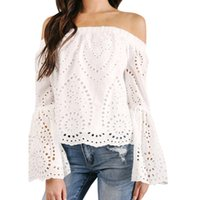 5e5d92bd24 Women White Lace Blouse Off The Shoulder Long Sleeve Hollow Out Loose Tops  Flare Sleeve Shirt Blusa Feminina  BF