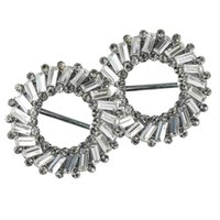 Wholesale round slider buckle for sale - Group buy Pack of mm Round Crystal Flower Rhinestone Buckle Invitation Ribbon Slider For Wedding Invitation Bridal Embellishment Silver