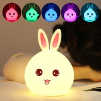 Wholesale tapping toys for sale - Group buy Rabbit LED Night Light For Children Baby Kids Bedside Lamp Multicolor Silicone Touch Sensor Tap Control Nightlight kids toys